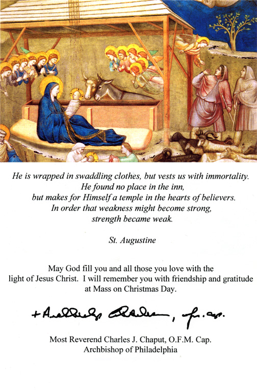Archbishop charles chaputs christmas card to the faithful help keep catholic media free support catholicphilly m4hsunfo