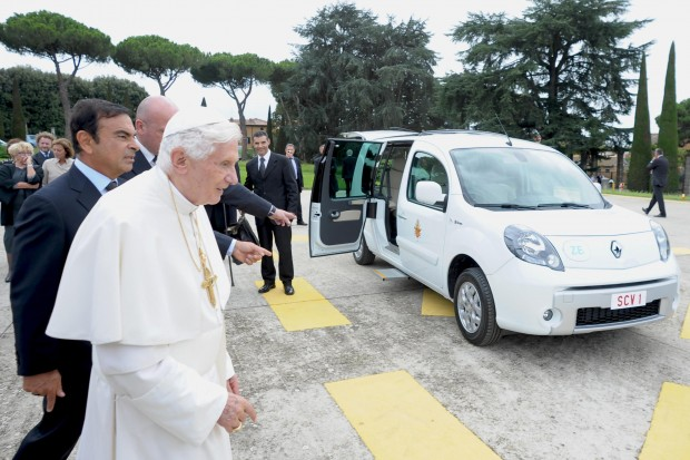 Pope Benedict XVI arrives next to Carlos Ghosn, chairman and CEO of Nissan and Renault, during a presentation of a new Renault electric car at the Vatican Sept. 5.