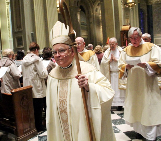 Archbishop Charles J. Chaput exits the Cathedral Basilica of SS. Peter and Paul after the Mass he celebrated for Catholic Life Congress. (Photos by Sarah Webb)