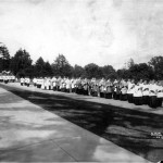 A eucharistic procession advances along the front of the upper side building at St. Charles Seminary in this undated photo. (Philadelphia Archdiocesan Historical Research Center)