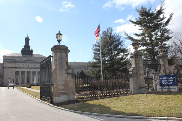 The front entrance to St. Charles Borromeo Seminary in Wynnewood, showing the College Division or lower side, which will be sold or leased in a plan for consolidation of the campus announced March 7. (Sarah Webb)