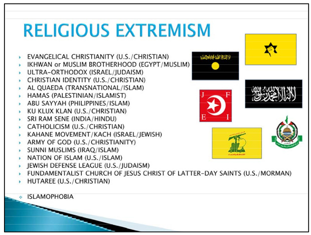 "This is one of the slides that the U.S. Archdiocese for the Military Services said had appeared in a training briefing for a group of about 100 Army Reserve soldiers in Pennsylvania. It lists several faiths and religious groups, including Catholicism, under the heading ""religious extremism."""