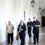 Returning seminarians give the new seminarians tours of the campus after they've move in to their new residences.