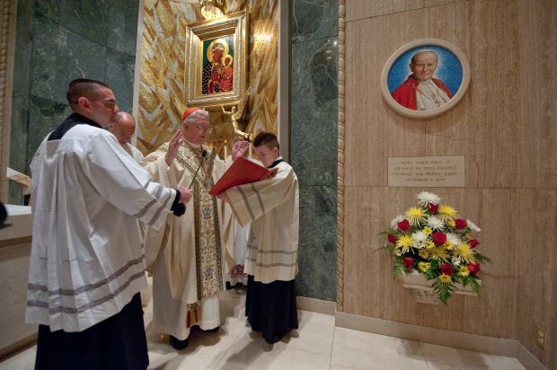 Cardinal Adam J. Maida, retired archbishop of Detroit, presides over the Oct. 20 dedication of a mosaic of Blessed John Paul II in the Chapel of Our Lady of Czestochowa at the Basilica of the National Shrine of the Immaculate Conception in Washington. (CNS photo/Matthew Barrick)