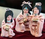 Figures in a creche made by Native Americans are part of a collection of more than 100 sets on display at St. Charles Borromeo Seminary's library in December. (Sarah Webb)