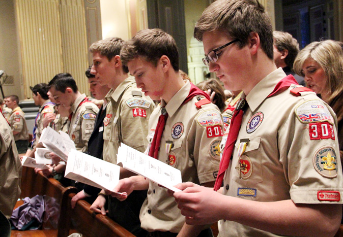 Boy Scouts participating in the annual Scout Mass Feb. 1 at the Cathedral Basilica of SS. Peter and Paul in Philadelphia included, from right, Thomas and Stephen Schmitz from Troop 303 at Mary Mother of the Redeemer Parish in North Wales. (Sarah Webb)
