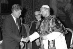 President John F. Kennedy shakes hands with Pope Paul VI at the Vatican July 2, 1963. (CNS file photo)