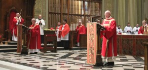 The Gospel is proclaimed by a permanent deacon at the Cathedral.