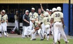 Neumann-Goretti celebrates early in the Catholic League title game as they piled up 11 runs to beat Roman Catholic for the championship May 23 at La Salle High School. (Sarah Webb)
