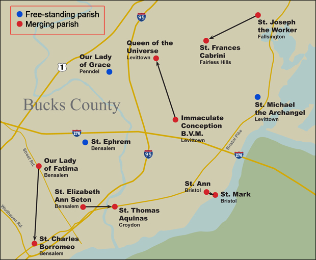 The result of parish mergers in lower Bucks County in 2014 -- click image to enlarge. (Graphic by Barb Hagan)