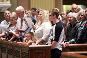 People young and old attended Mass at the Cathedral Basilica of SS. Peter and Paul after which they venerated the relic of St. John Paul II.