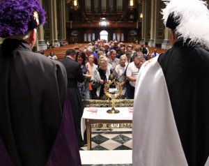 The Knights of Columbus stand guard while the relic of St. John Paul II's blood is venerated after Mass at the cathedral.