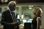 "Morgan Freeman and Scarlett Johansson star in a scene from the movie ""Lucy."" (CNS photo/Jessica Forde, Universal Pictures)"