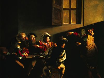 "A Caravaggio painting titled ""The Calling of Saint Matthew"" was featured as a meditation at the Courage/EnCourage Conference. Read more about it at the website of Courage International."