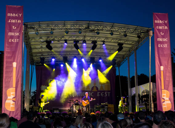 Matt Maher and his band play in the twilight on the Daylesford Abbey grounds, Sept. 20, 2014 in Paoli. (Photo by Sarah Webb)