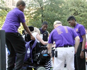 Young men from Roman Catholic were on hand to help out during the rally.