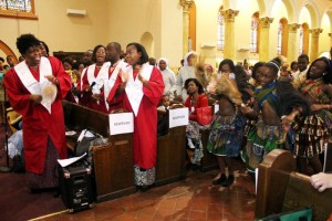 Singers and dancers led the rollicking, joyous celebration of the first annual African Heritage Mass Oct. 19 at St. Cyprian Church in West Philadelphia. (Photo by Sarah Webb)