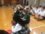 Students of Mother Teresa Regional Catholic School, King of Prussia, pray the rosary in the school gym.