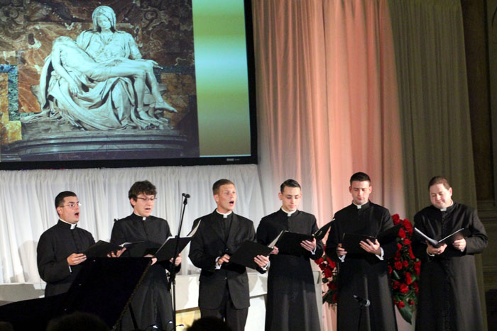 seminarians perform before the tenors come on
