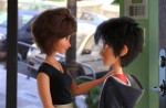 """The animated artistry of characters Aunt Cass and Hiro Hamada star in a scene from the movie """"Big Hero 6."""" (CNS photo/Disney)"""