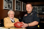 Former Miami Dolphins Coach Don Shula poses for a photo recently with a fan during a meet and greet at a Shula's restaurant in Cleveland. (CNS photo/courtesy Don Shula)