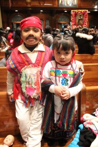 Typically at the Mass, children dress in traditional Mexican attire and also as St. Juan Diego.