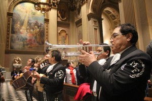 Members of el Mariachi Flores, a mariachi band, provide music in the cathedral.