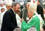 Pope John Paul II greets Cuban President Fidel Castro at the end of Mass in the Plaza of the Revolution in Havana Jan. 25, 1998. (CNS photo/Reuters)