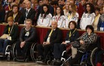 Italian Olympians and Paralympians celebrating the 100th anniversary of the Italian Olympic Committee attend an audience with Pope Francis in St. Peter's Basilica at the Vatican Dec. 19. The pope encouraged the athletes and the Olympic committee to ensure access to sports for all people, including immigrants and the poor. (CNS photo/Paul Haring)