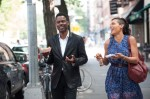 "Chris Rock and Rosario Dawson star in a scene from the movie ""Top Five.""  (CNS photo/Paramount)"