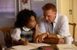 "Kevin Costner and Jillian Estell star in a scene from the movie ""Black or White."" The movie aims to ""start the conversation"" on race, and while not an overtly religious film, its creators and stars say it addresses what might be called faith-based values such as the importance of family, the need for compassion and the power of love. (CNS photo/Relativity)"