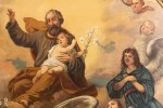 """The detail of the 19th century painting, """"The Angelic Exaltation of Saint Joseph into Heaven."""""""