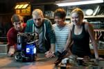 "Sam Lerner, Jonny Weston, Allen Evangelista and Virginia Gardner star in a scene from the movie ""Project Almanac."" (CNS photo/Paramount)"
