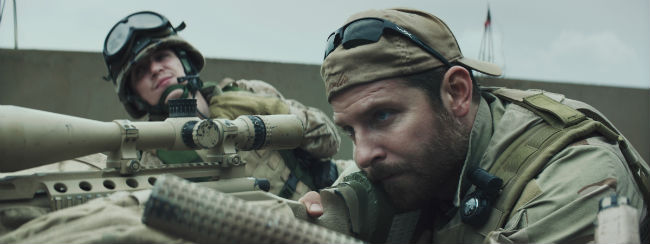 "Kyle Gallner and Bradley Cooper (right) star in a scene from the movie ""American Sniper.""  The film is nominated for six Academy Awards, including Best Picture. (CNS photo/Warner Bros.)"