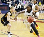Ciani Cryor, right, led her Neumann-Goretti teammates to the PIAA state championship, AAA Division,  Friday March 20. (Sarah Webb)