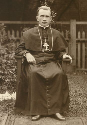 Blessed Nykyta Budka is pictured as a bishop in the backyard of his residence-chancery in Winnipeg, Manitoba, circa 1920. (CNS photo/courtesy of Archives of the Archeparchy of Winnipeg)