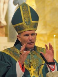 Bishop David M. O'Connell is seen preaching during Mass at Divine Mercy Church in Trenton, N.J.,  in this Oct. 3, 2010 file photo.  (CNS photo/Joe Moore, The Monitor)