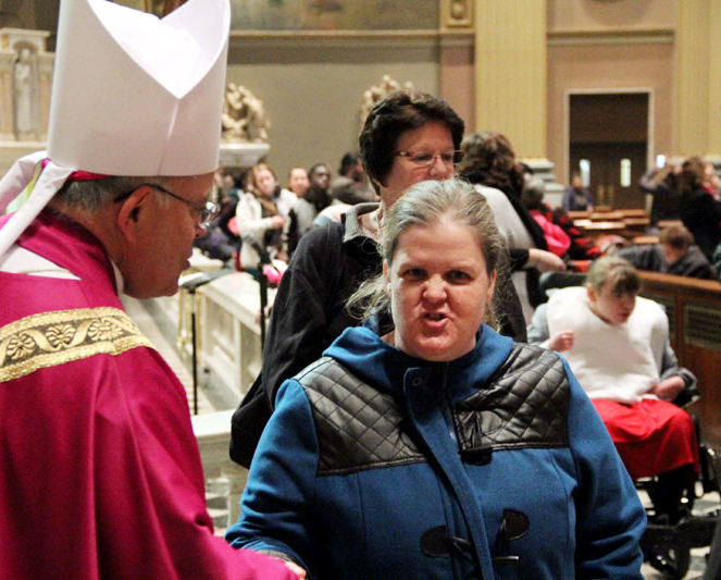 Mary from Divine Providence chats with the Archbishop after mass AAAAAAAAAAAAAAAAAAAAAAAAAAAAAAAAAAAAAAAAAAAAAAAAAAAAAAAAAAAAAAAAAAAAAAAAAAAAAAA
