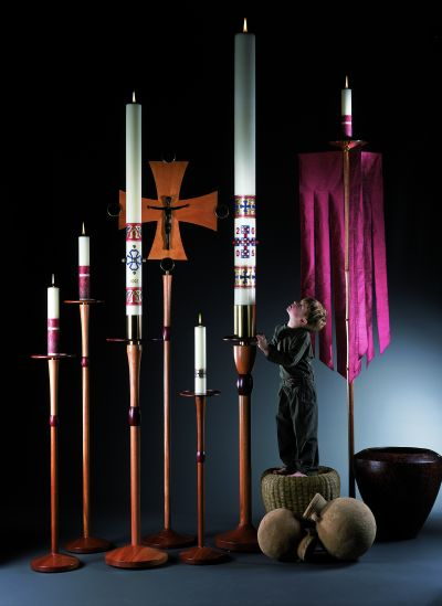 Marklin Candles in New Hampshire makes a range of paschal candles and has been in business since 1975. The company is one of about seven making liturgical candles in the United States. (CNS photo/courtesy Marklin Candle Design)