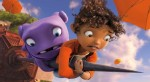 "Animated characters Oh, voiced by Jim Parsons, and Tip, voiced by Rihanna, appear in the movie ""Home."" (CNS photo/DreamWorks)"
