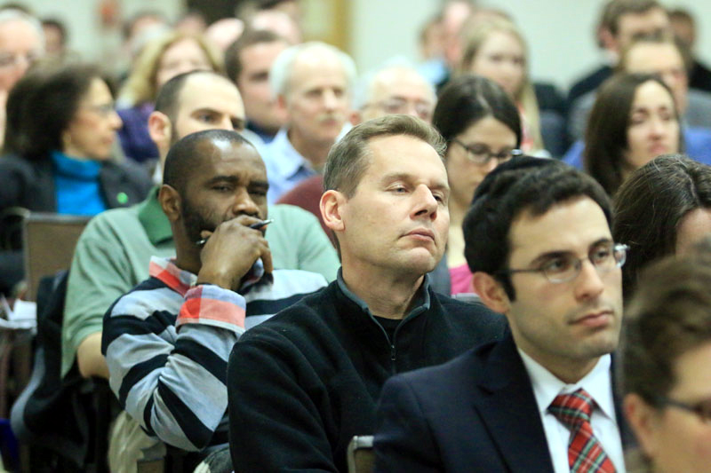 Guests listen to the archbishop's lecture March 17 at St. Charles Seminary. (Sarah Webb)