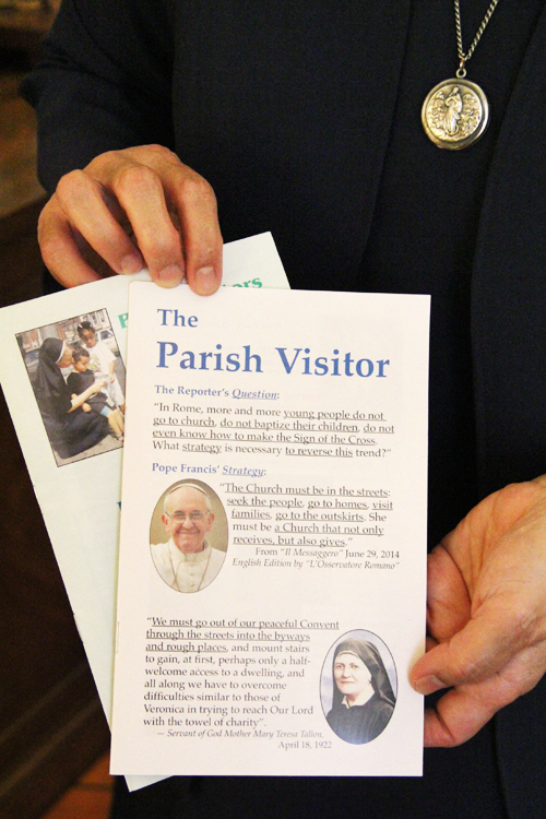 An example of some of the explanatory literature Sister Mary Praxedes brings along on her home visits. (Sarah Webb)