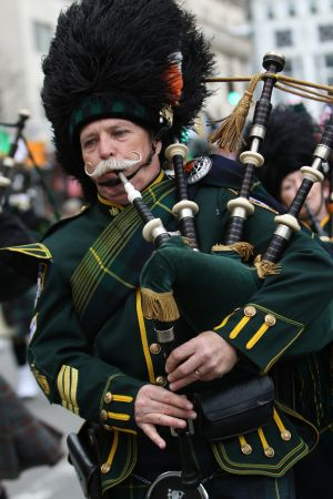 A bagpiper marches in the 254th annual St. Patrick's Day Parade in New York City March 17. (CNS photo/Gregory A. Shemitz)