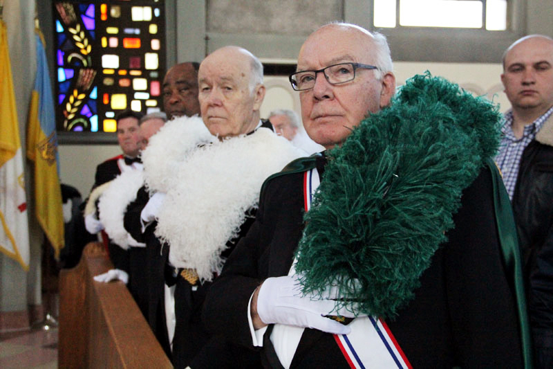 The Knights of Columbus were on hand at the service.