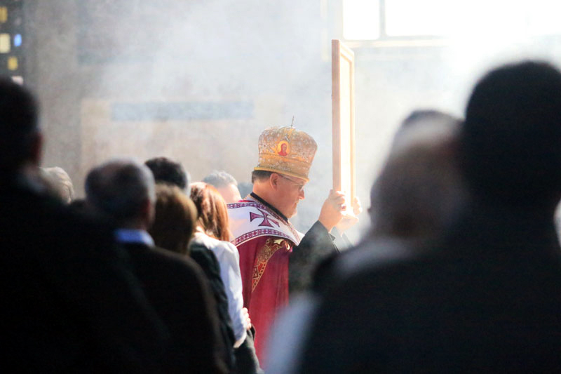 Archbishop Stefen Soroka processes into the cathedral with the icon/relic.