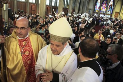 Bishop Juan Barros attends his first Mass at the Cathedral of St. Matthew in Osorno, Chile, March 21. (CNS photo/Carlos Gutierrez, Reuters)
