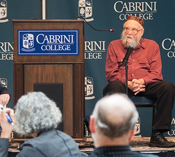 Rabbi Arthur Waskow answers questions after his talk at the conference. Ashley Block)