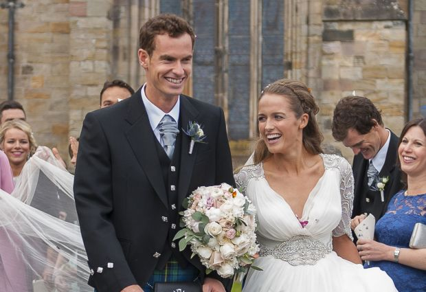 British tennis player Andy Murray and his wife, Kim, leave after their wedding ceremony at the cathedral in Dunblane, Scotland, April 11. In Europe, many countries distinguish between church and civil marriages. (CNS photo/Joey Kelly, EPA)