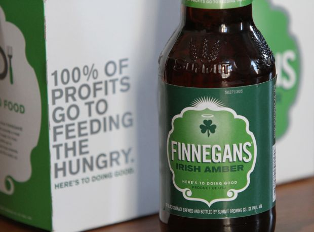 "Finnegans beer, brewed in Minneapolis, contributes 100 percent of its profits to alleviate hunger. Locals call the beer ""Irish Holy Water."" (CNS photo/Dave Hrbacek, The Catholic Spirit)"