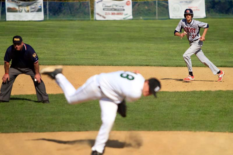 When he's not pitching, Tim Brennan (20) can make things happen on the base paths too, as he advances from first to second during a game April 30. (Sarah Webb)